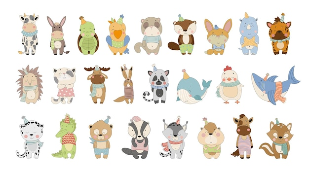 Vector collection of cute cartoon animals characters for childrens books cards stickers prints