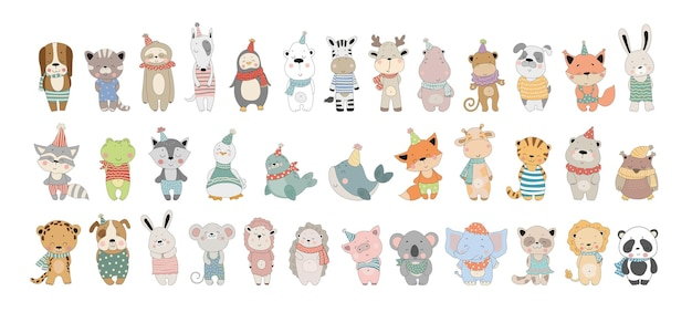 Vector collection of cute cartoon animals