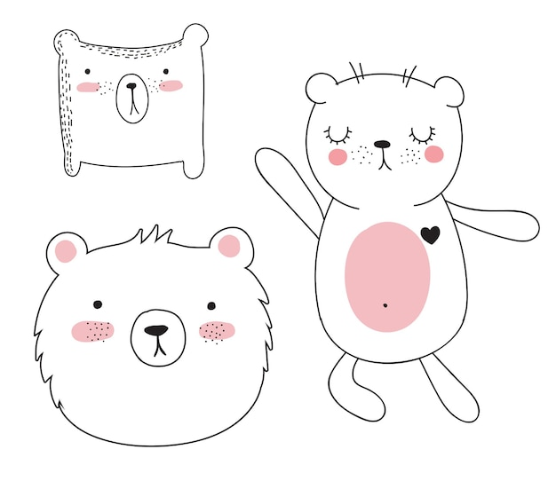 Vector collection of cute doodle animals adorable objects isolated on background