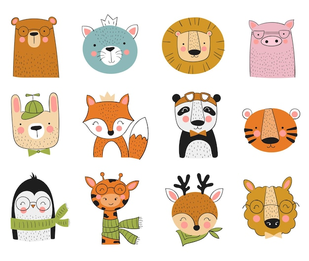 Vector collection of cute hand drawn animals. banner with adorable objects isolated on background. valentine's day, anniversary, save the date, baby shower, bridal, birthday, decoration