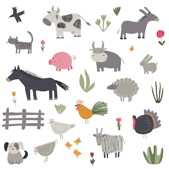 Vector collection of cute hand drawn farm animals childish set for fabric textile apparel