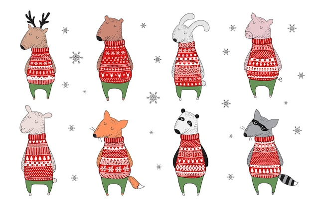 Vector collection of cute winter animals in cozy sweater