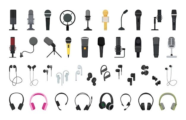 Vector collection of detailed microphones and headphones