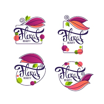 Vector collection of doodle flowers emblems frames and logo with floral beauty  lettering composition