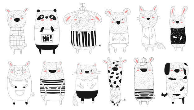 Vector collection of doodle funny animals
