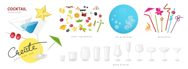 Vector collection of elements for constituent a cocktail