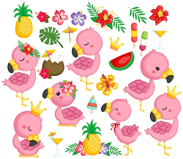 A vector collection of flamingos and tropical items
