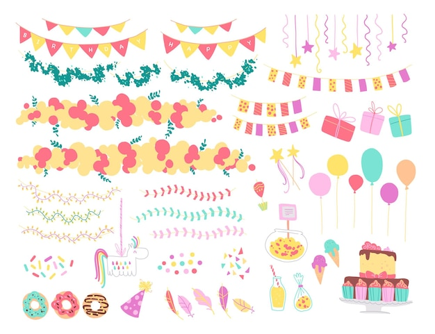 Vector collection of flat decor elements for kids birthday party - balloons, garlands, gift box, candy, pinata, bd cake etc. flat hand drawn style. good for cards, patterns, tags, banners etc.