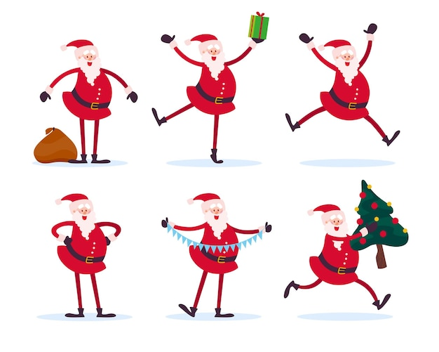 Vector collection of flat funny santa claus characters isolated on white background. santa stand with presents bag, carry fir tree, hold gift box and garland, jump, smile. good for card, banner etc.