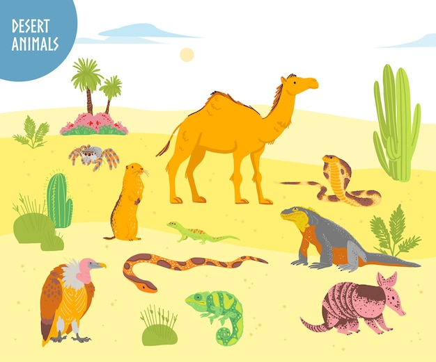 Vector collection of flat hand drawn desert animal reptiles insects camel snake lizard isolated