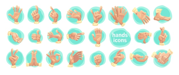 Vector collection of flat hand symbols isolated