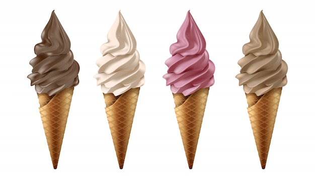 Vector collection of frozen yogurt or ice cream in chocolate, vanilla, strawberry and coffee flavor.