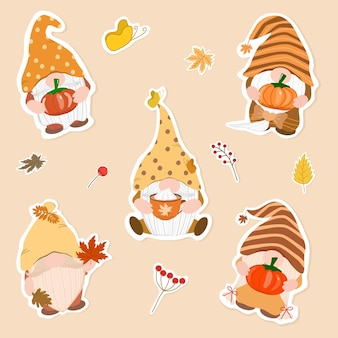 Vector  collection of gnome holding maple leaves pumpkin a cup of coffee autumn fall season
