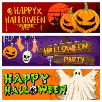 Vector collection of halloween party banner