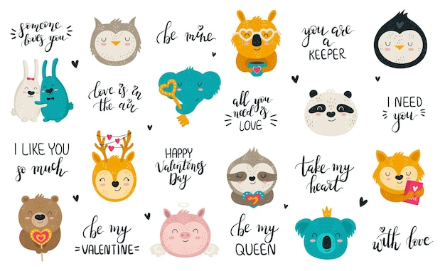Vector collection of hand drawing cute animals and lovely slogans set of doodle illustrations v