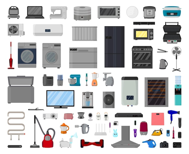 Vector collection of home appliances and electronics