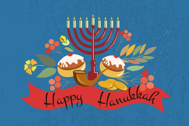 Vector collection of labels and elements for hanukkah. happy hanukkah poster with flowers, coins, candles, donuts, ribbons and herbs. flower template for postcard, invitation card or your design