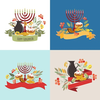 Vector collection of labels and elements for hanukkah signature happy hanukkah with flowers coins