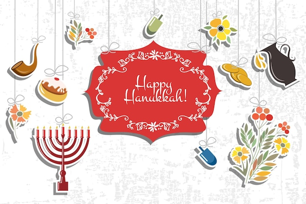 Vector collection of labels and elements for hanukkah signature happy hanukkah with flowers