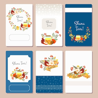 Vector collection of labels and elements for rosh hashanah jewish new year card templates