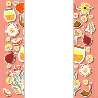 Vector collection of labels and elements for rosh hashanah (jewish new year). icon or badge. flower template for postcard or invitation card