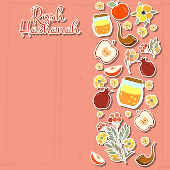 Vector collection of labels and elements for rosh hashanah (jewish new year). icon or badge with signature