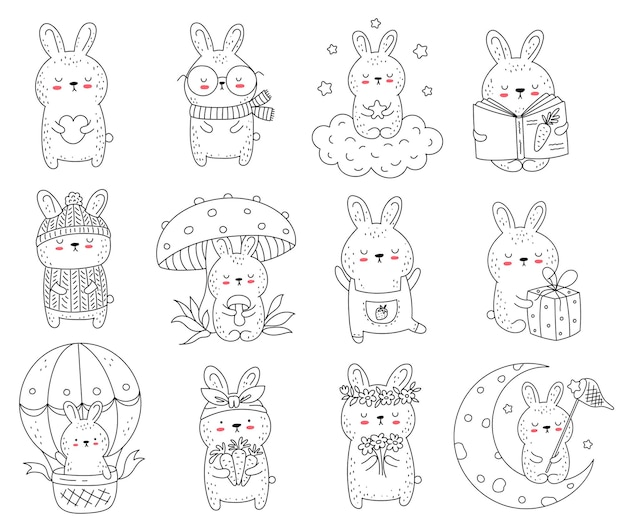 Vector collection of line drawing cute rabbits. doodle illustration. holidays, baby shower, birthday, children's party, greeting cards, nursery decoration