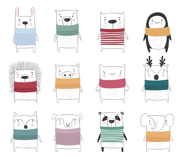 Vector collection of line drawing cute winter animals in cozy clothes