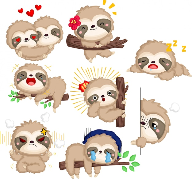 A vector collection of many emotions of sloth in black and white colour