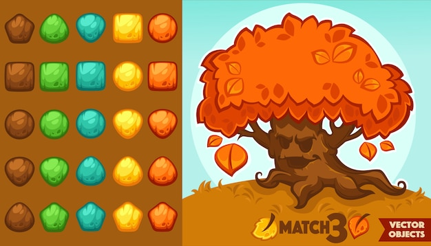 Vector collection of match 3 objects, blocks and puzzles