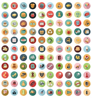 Vector collection of modern flat and colorful shopping icons