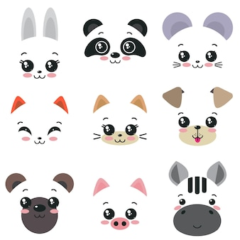 Vector collection of nine cute animal faces for kids design