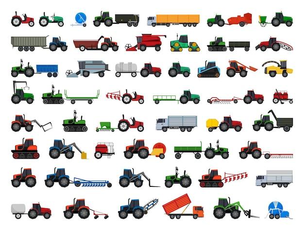 농업 기계 및 운송의 벡터 컬렉션
