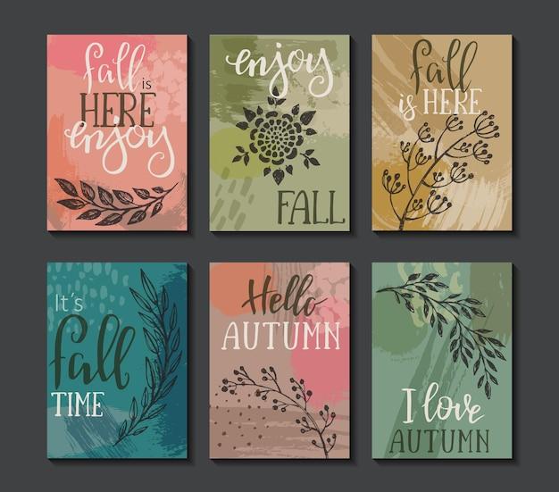 秋のカードのベクトルコレクション。手レタリングテキスト付きの秋のチラシテンプレート。美しい木の枝と抽象的なテクスチャ。ポスター、カレンダー、メモ、ラベル、スケジュール、プランナー、バナーデザインセット。