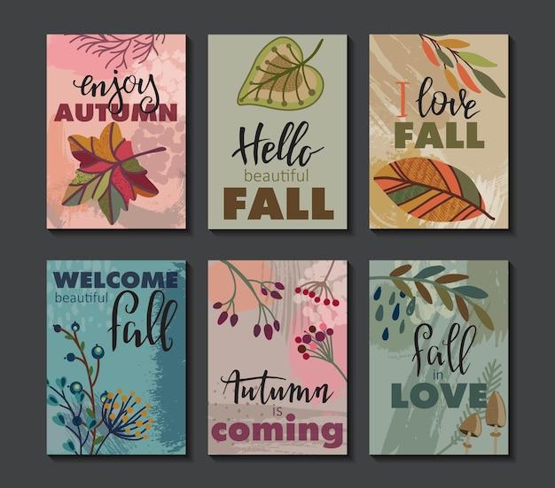 秋のカードのベクトルコレクション。手レタリングテキスト付きの秋のチラシテンプレート。明るくカラフルな葉と抽象的な質感。ポスター、カレンダー、メモ、ラベル、スケジュール、プランナー、バナーデザインセット。