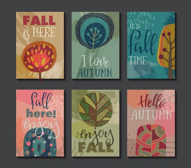 秋のカードのベクトルコレクション。手レタリングテキスト付きの秋のチラシテンプレート。明るくカラフルな木々と抽象的な質感。ポスター、カレンダー、メモ、ラベル、スケジュール、プランナー、バナーデザインセット。