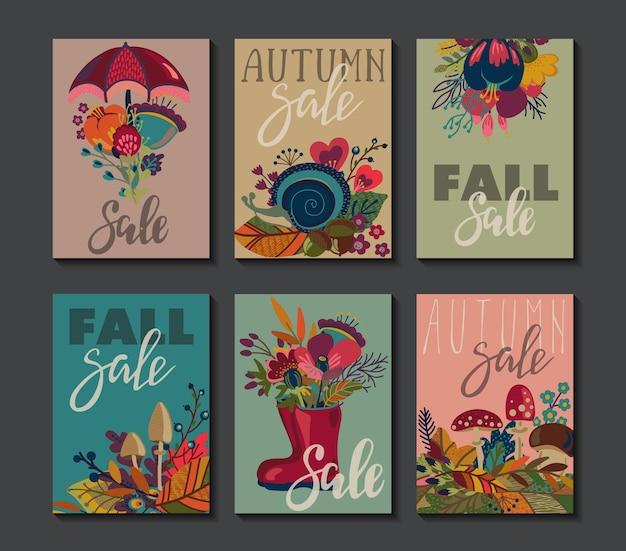 秋のカードのベクトルコレクション。手レタリングテキスト付きの秋のチラシテンプレート。明るい葉、木、花、きのこ。ポスター、カレンダー、メモ、ラベルバナーデザインセット