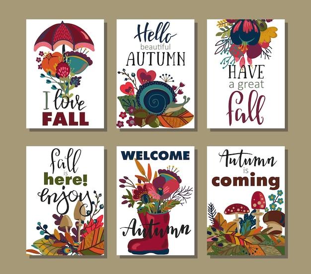 秋のカードのベクトルコレクション。手レタリングテキスト付きの秋のチラシテンプレート。明るい葉、木、花、きのこ。ポスター、カレンダー、メモ、ラベル、スケジュールプランナーバナーデザインセット