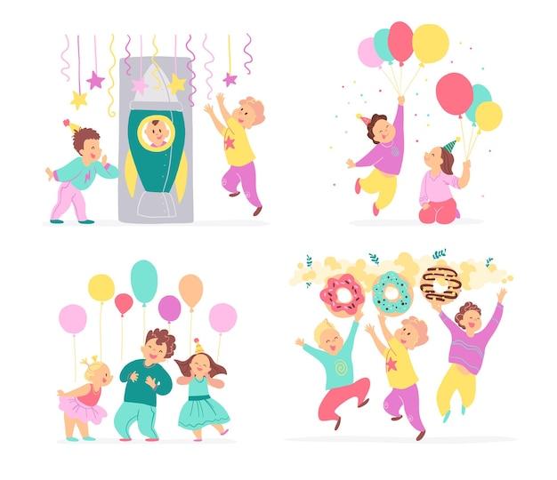 誕生日パーティーの子供たちのベクトルコレクション、白い背景で隔離の装飾のアイデア要素-風船、キャンディー、ロケット、花輪。フラット手描き漫画スタイル。カード、パターン、タグ、招待状に適しています