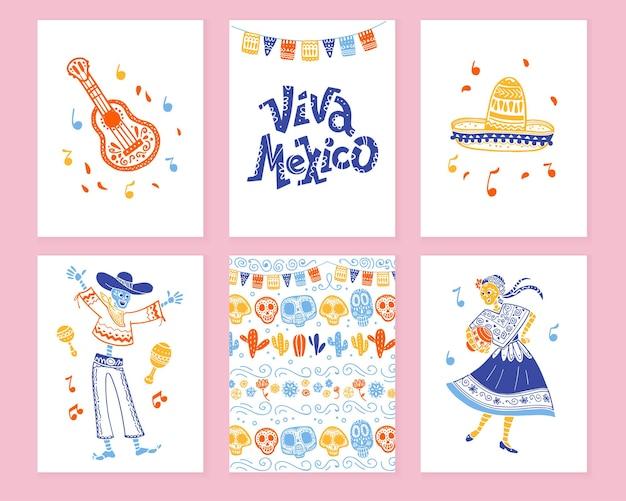 멕시코 데이 데드 파티를 위한 전통적인 장식이 있는 카드의 벡터 컬렉션, 평평한 손으로 그린 스타일의 디아 데 로스 무에르토스 축하. 레터링 축하, 기타, 솜브레로, 해골, 패턴
