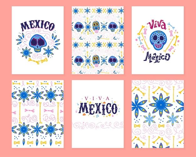 멕시코 데이 데드 파티를 위한 전통적인 장식이 있는 카드의 벡터 컬렉션입니다. 평평한 손으로 그린 스타일의 dia de los muertos 장식. 텍스트 축하, 해골, 꽃 요소, 꽃잎, 뼈, 패턴