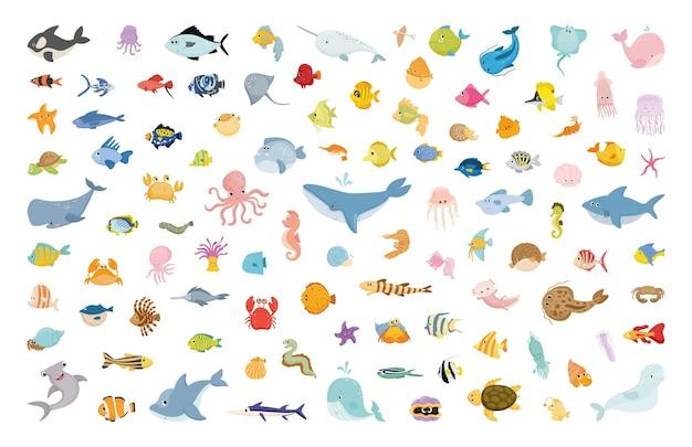 만화 해양 동물의 벡터 컬렉션입니다.