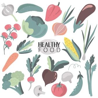 흰색 배경에 고립 된 다채로운 신선한 만화 유기농 야채의 벡터 컬렉션