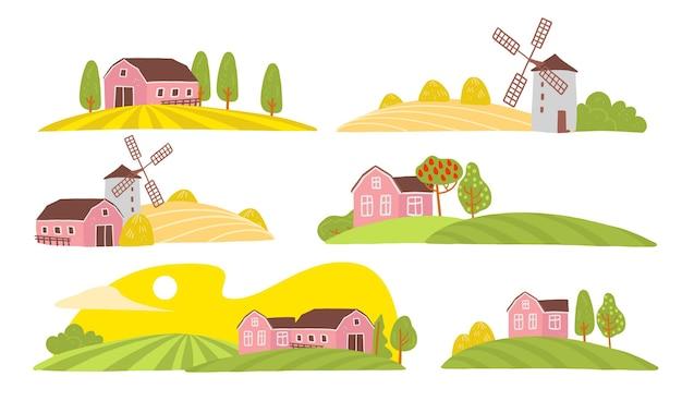 居心地の良い農場の風景ビューのベクトルコレクション:家、庭、木、フィールド、干し草の山、白い背景で隔離の風車。フラット手描きスタイル。ラベル、ファーマーズマーケットのイラスト、バナー、ロゴ。