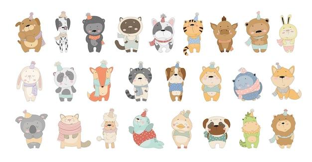 귀여운 만화 동물의 벡터 컬렉션