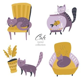 シンプルなフラットスタイルのかわいい猫のベクトルコレクション