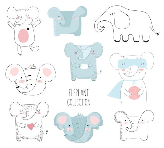 귀여운 낙서 동물의 벡터 컬렉션 배경에 고립 된 사랑스러운 개체