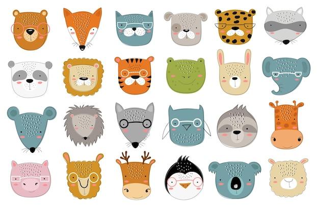 아이들을 위한 귀여운 낙서 동물의 벡터 컬렉션입니다. 손으로 그린 그래픽 동물원. 베이비 샤워, 엽서, 라벨, 브로셔, 전단지, 페이지, 배너 디자인에 적합