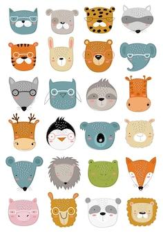 아이들을 위한 귀여운 낙서 동물의 벡터 컬렉션 손으로 그린 그래픽 동물원