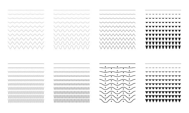さまざまな細い線の幅と狭い波線のベクトルコレクション波状の曲線とジグの大きなセット